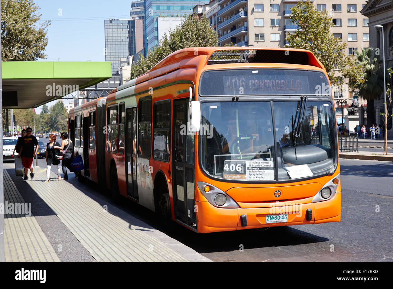 transantiago city bus route stop in the centre of Santiago Chile - Stock Image