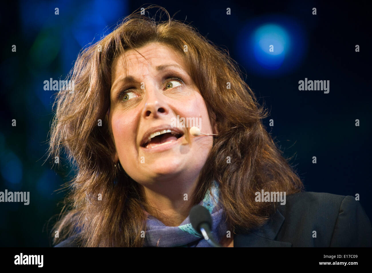 Rebecca Front comedy actress speaking about her life & work on stage at Hay Festival 2014 ©Jeff Morgan Stock Photo