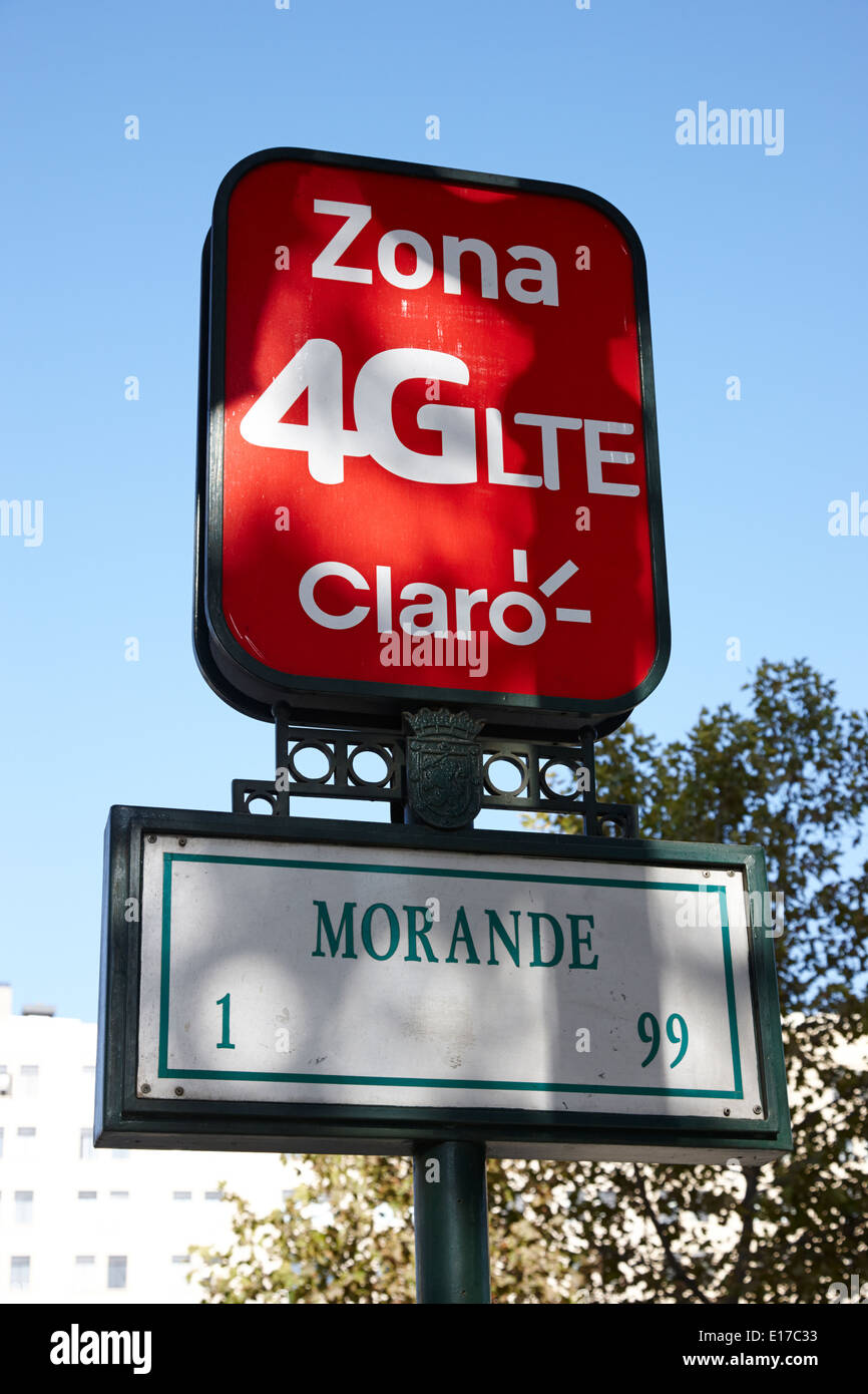 claro mobile network supplier 4g lite zone downtown Santiago Chile - Stock Image