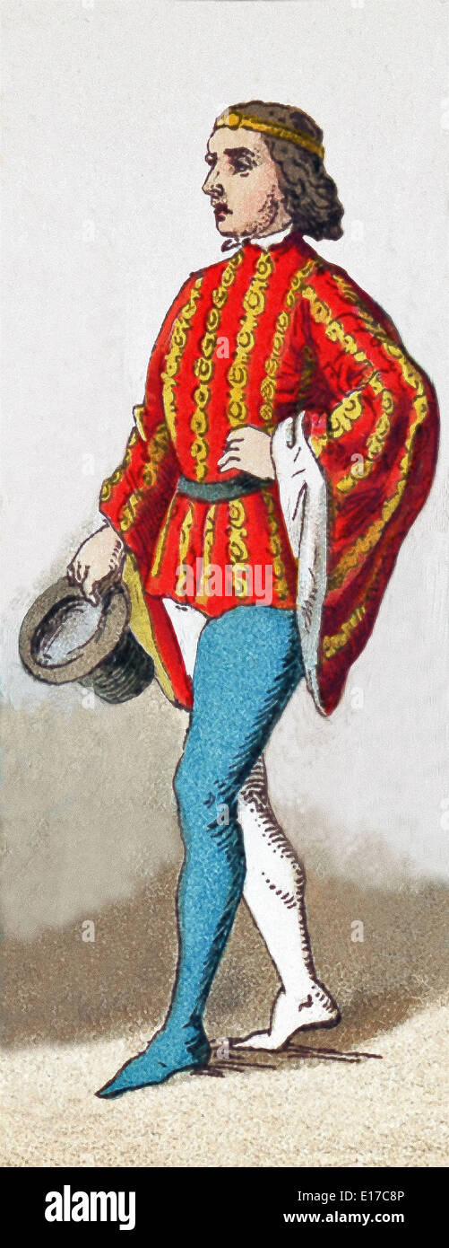 The figure represented here is an English man of rank in 1377. The illustration dates to 1882. - Stock Image