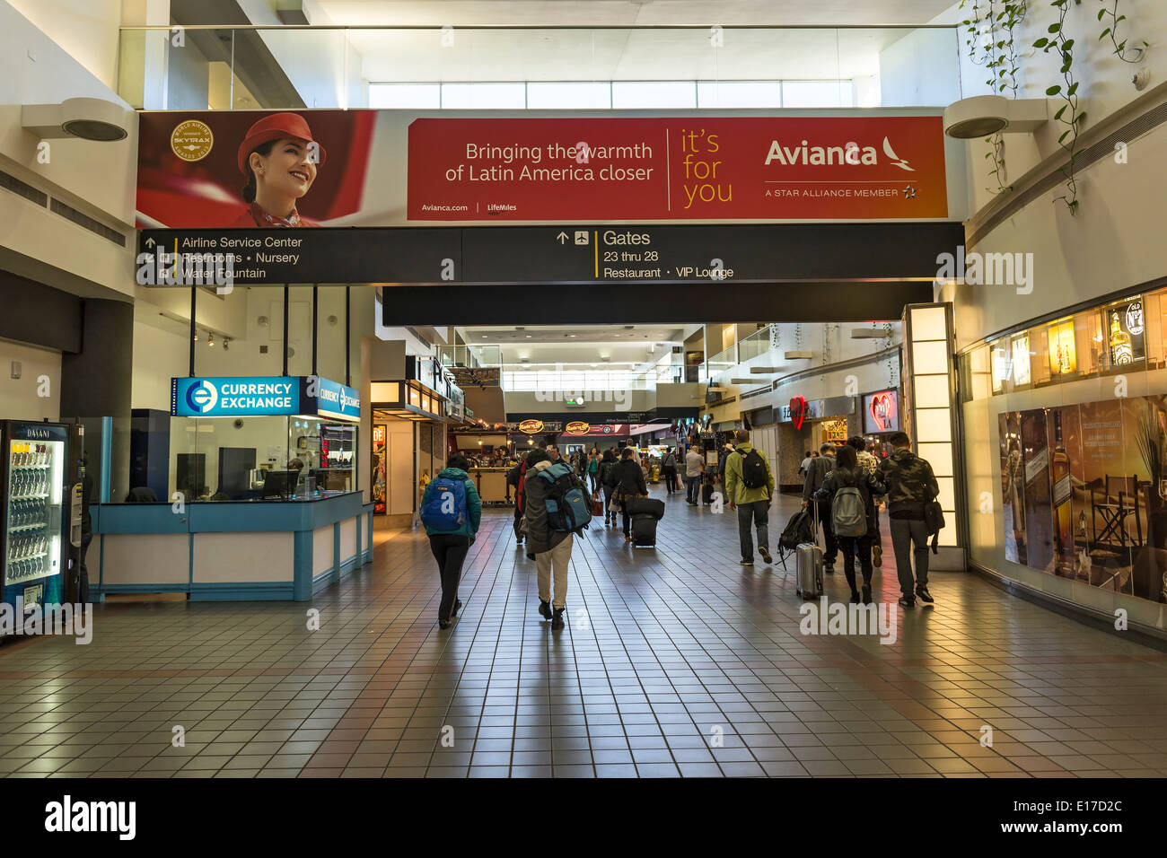 People walking through the LAX terminal. - Stock Image
