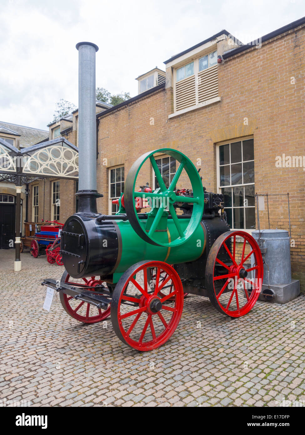 A portable steam engine built 1925 by Farmers Foundry Co. at the Bygones Museum at Holkham Hall Norfolk England UK - Stock Image