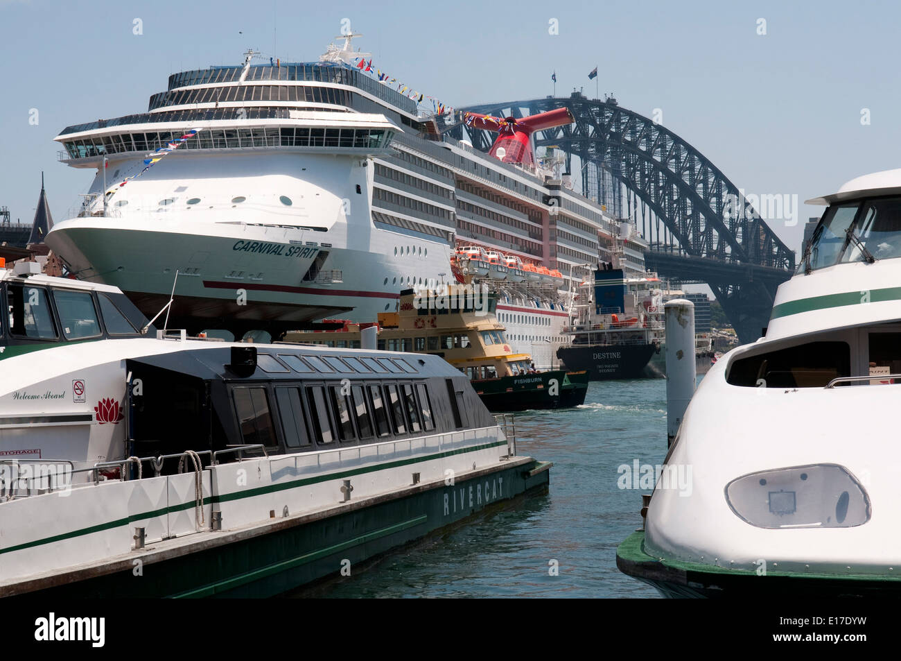 The cruise liner Carnival Spirit berthed in front of Sydney Harbour Bridge, New South Wales, Australia. Stock Photo