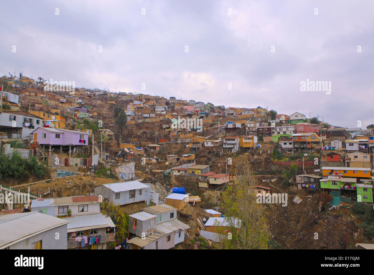 Valparaiso, after the big fire, rebuilding people`s houses  Chile 2014 - Stock Image