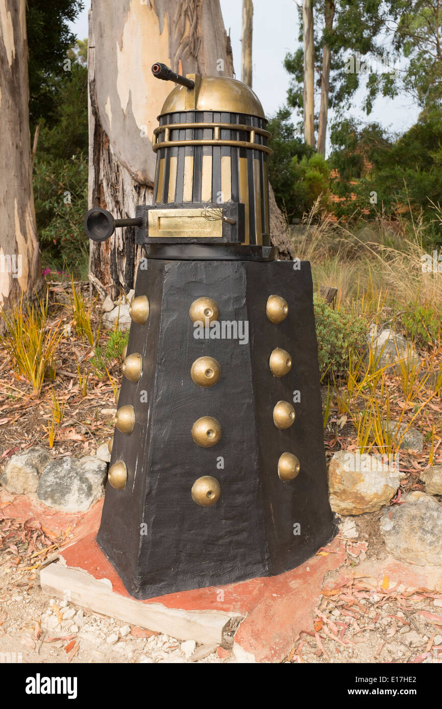 Mailbox in the shape of a Daleck from the Dr Who Television series, Wilmot Road Tasmania - Stock Image
