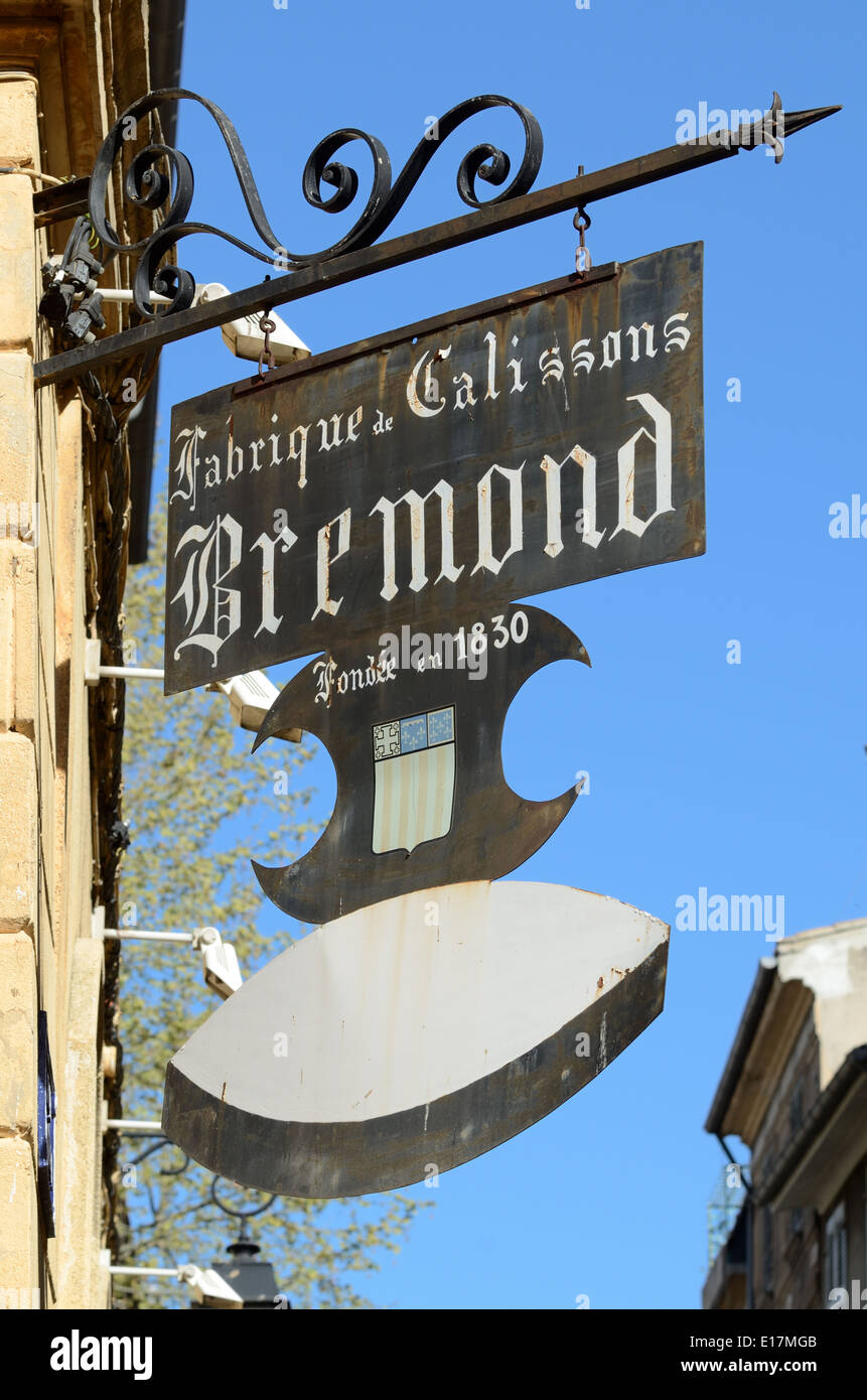 Wrought Iron Advert for Calissons Almond Sweets at Bremond Patisserie founded in 1830 Aix-en-Provence Provence France - Stock Image