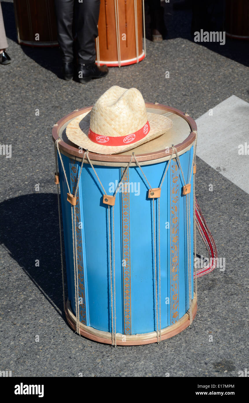 Provençal Blue Drum & Straw Hat at Music Festival Aix-en-Provence Provence France - Stock Image
