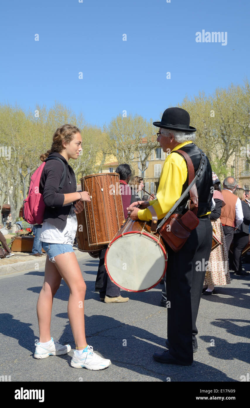 Young & Old Provençaux or Two Generations of French People at Music Festival Aix-en-Provence Provence France - Stock Image