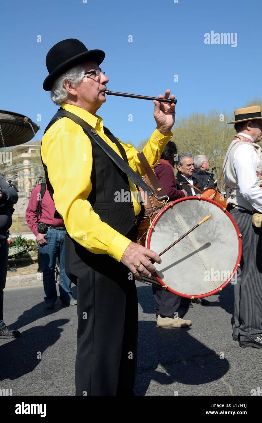 Provençal Drummer Flautist or Folk Musician Wearing Traditional Provençal Clothes Aix-en-Provence Provence France - Stock Image