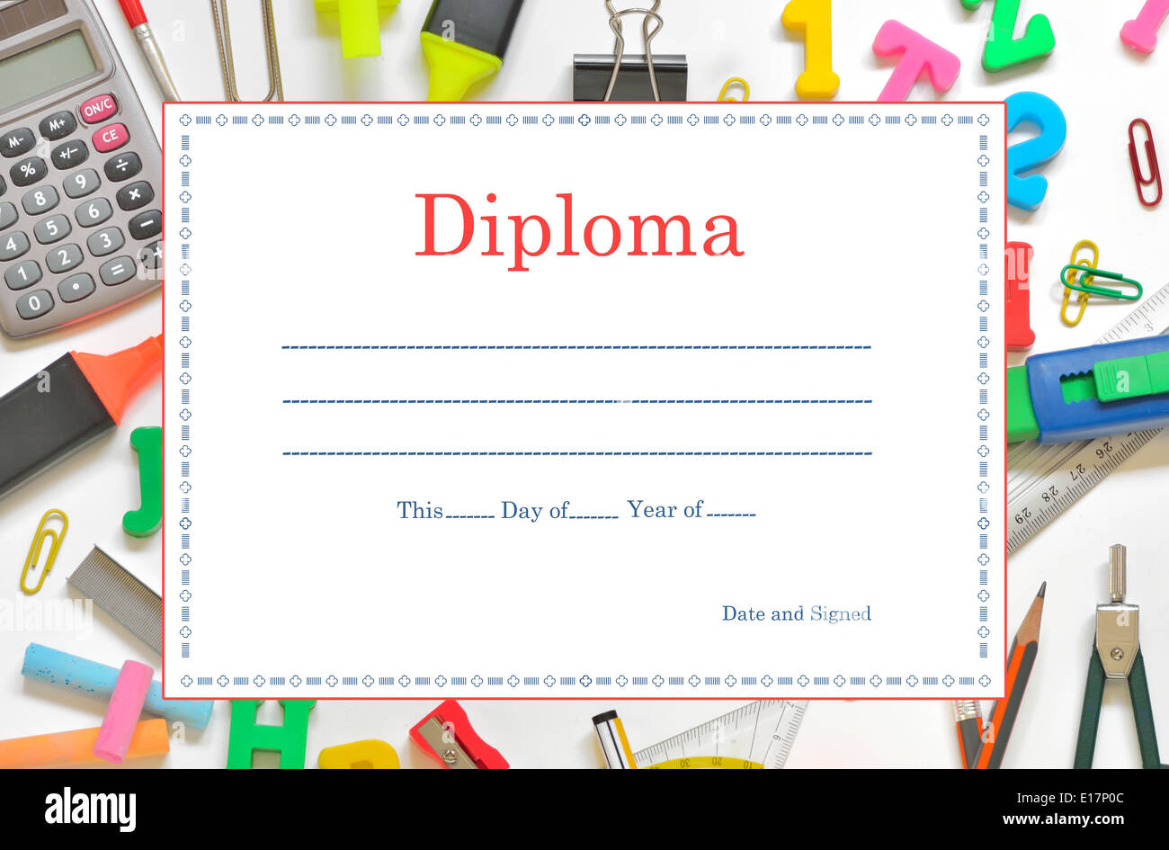 Template School Diploma for Children - Stock Image