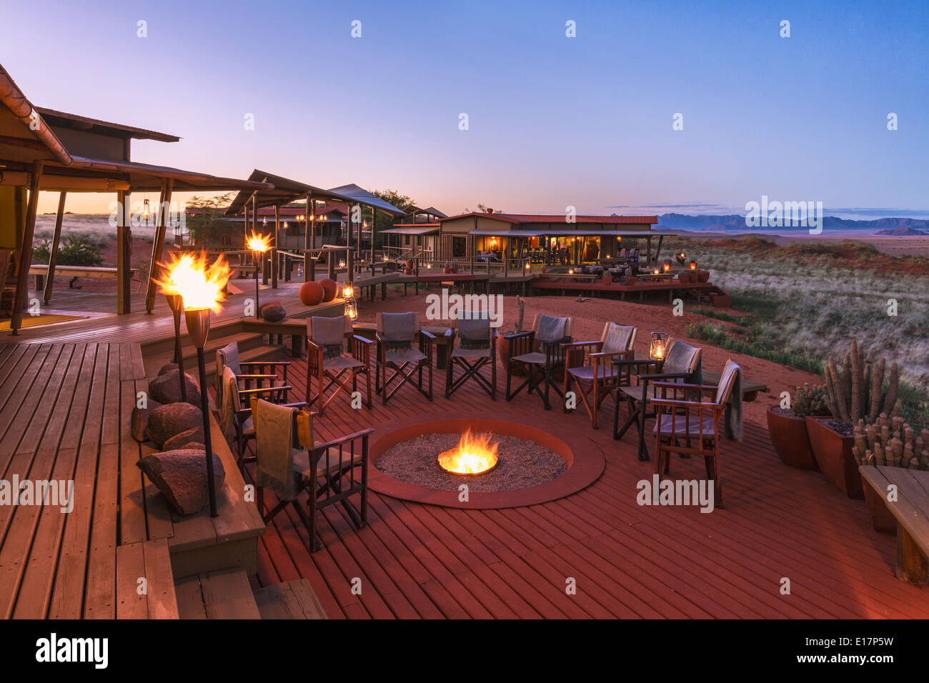 The deck area of Dunes Lodge.Wolwedans NamibRand Nature Reserve.Namibia - Stock Image