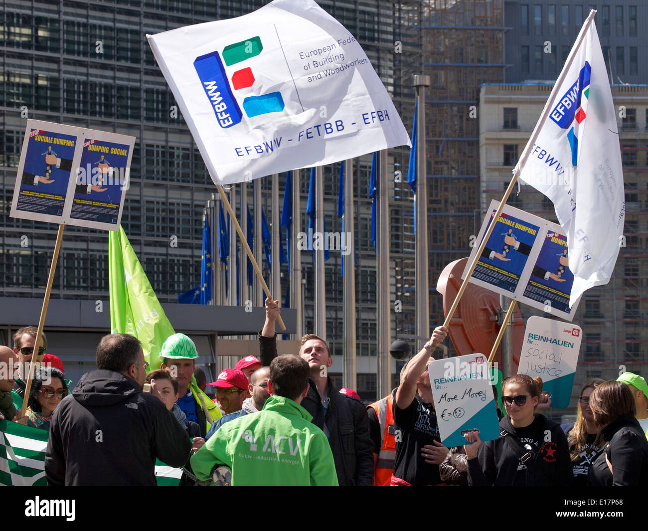 Workers protesting at European Commission in Brussels, Belgium - Stock Image