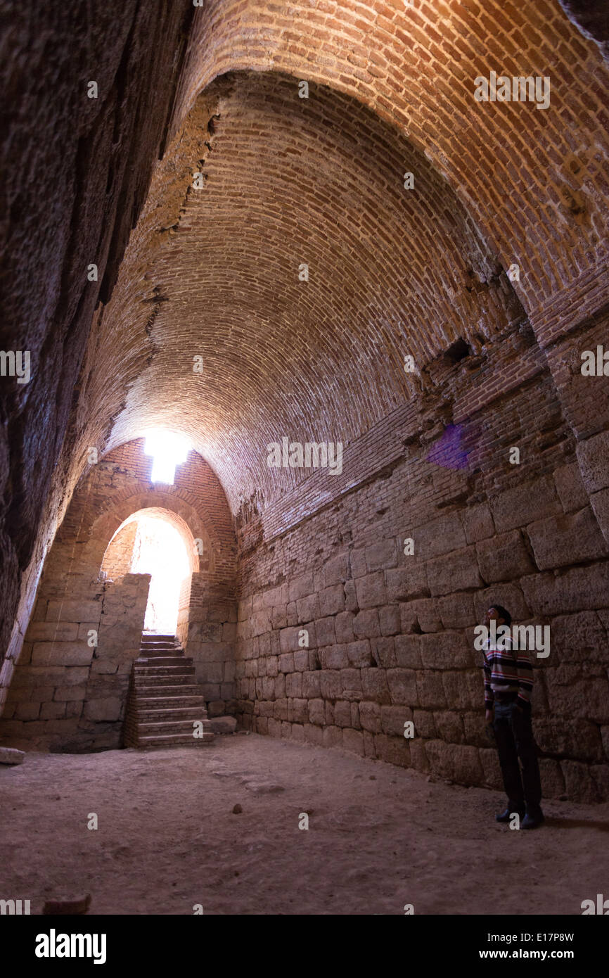 Deep, cool brick vaults at the ruined temple of Takt-e-Soleiman, Iran - Stock Image