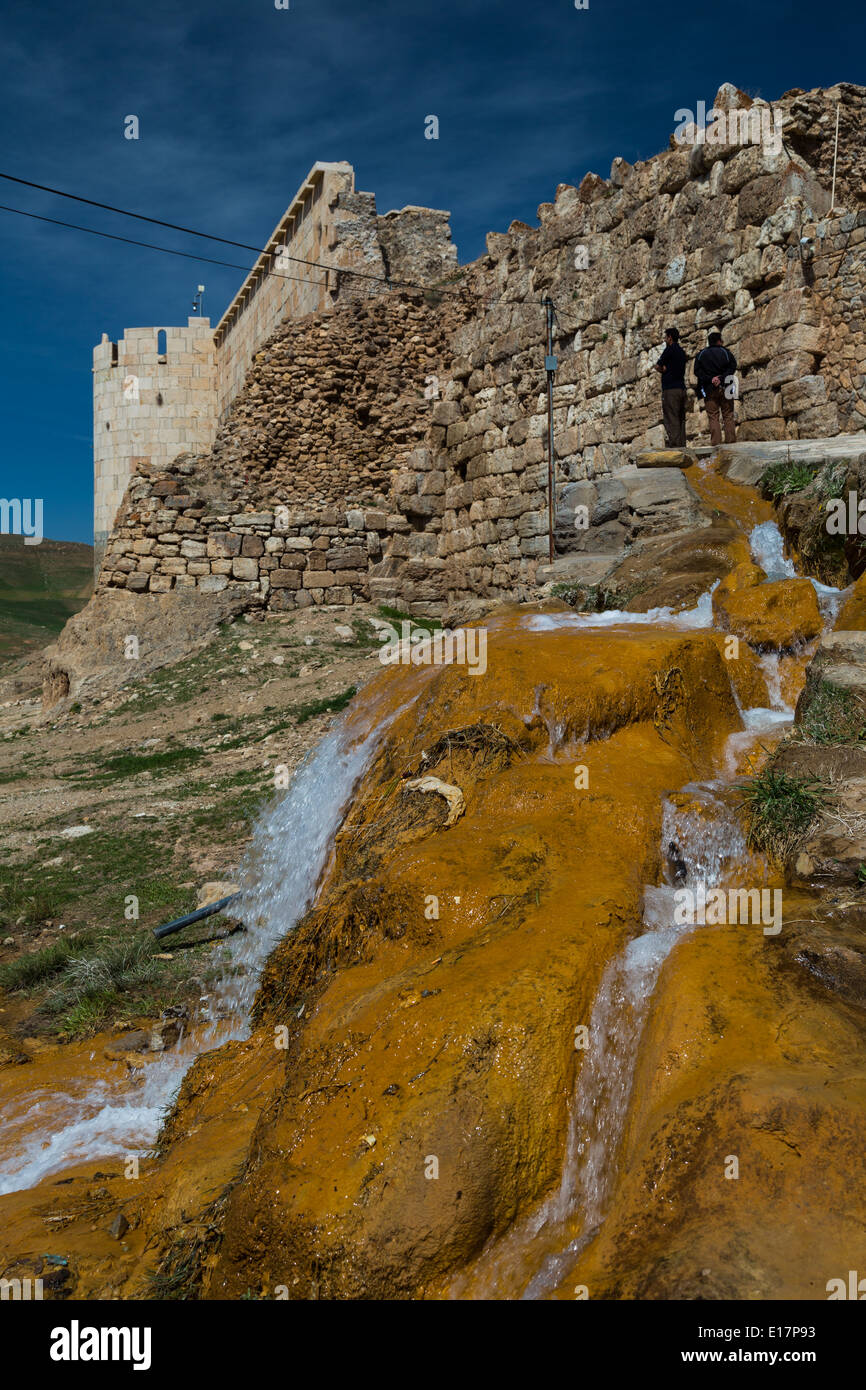 Mineral deposits from the outflow from the volcanic lake at Takt-e-Soleiman, Iran - Stock Image