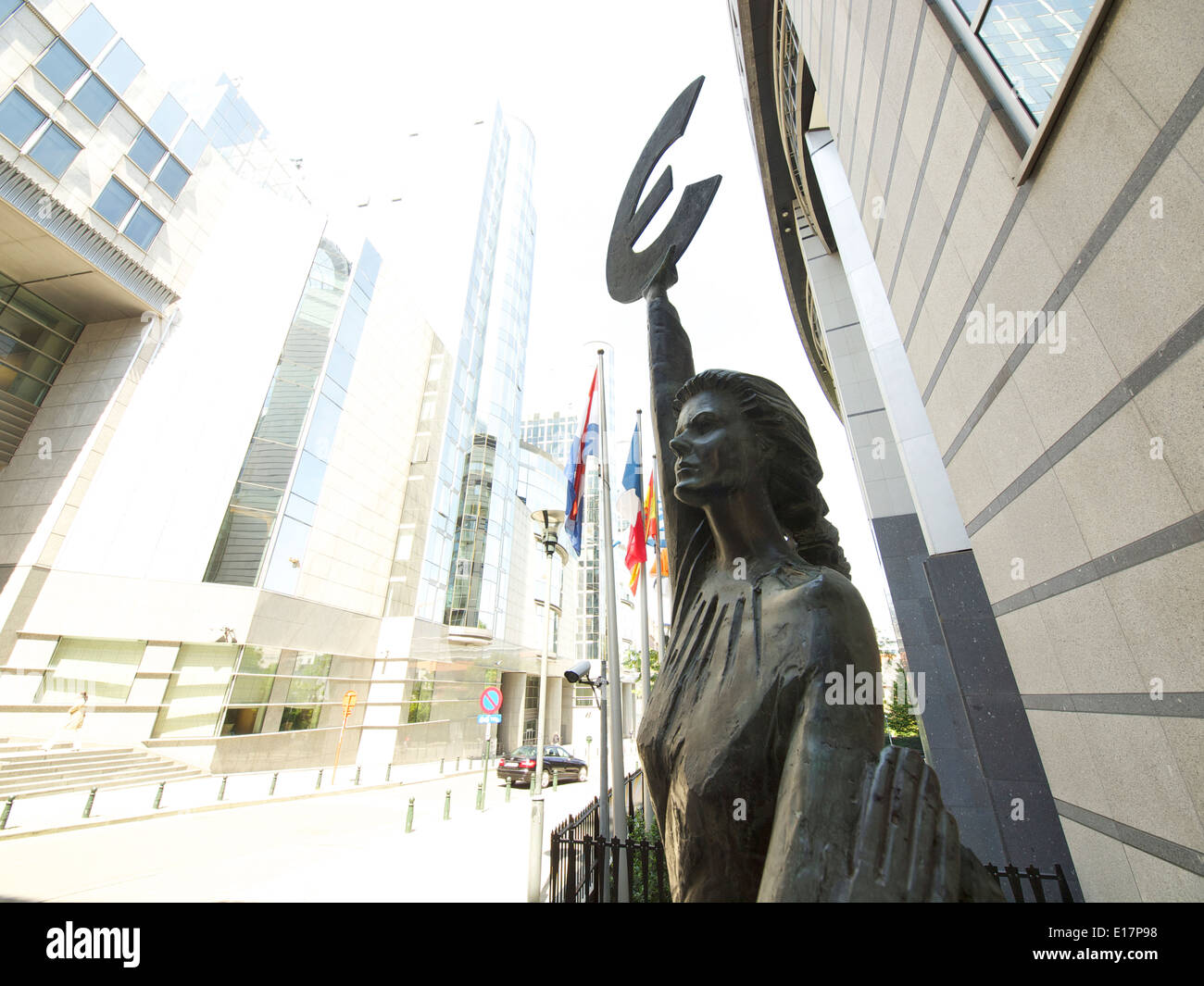 Statue of the goddess Europa with Euro currency symbol in front of the European Parliament in Brussels Belgium - Stock Image