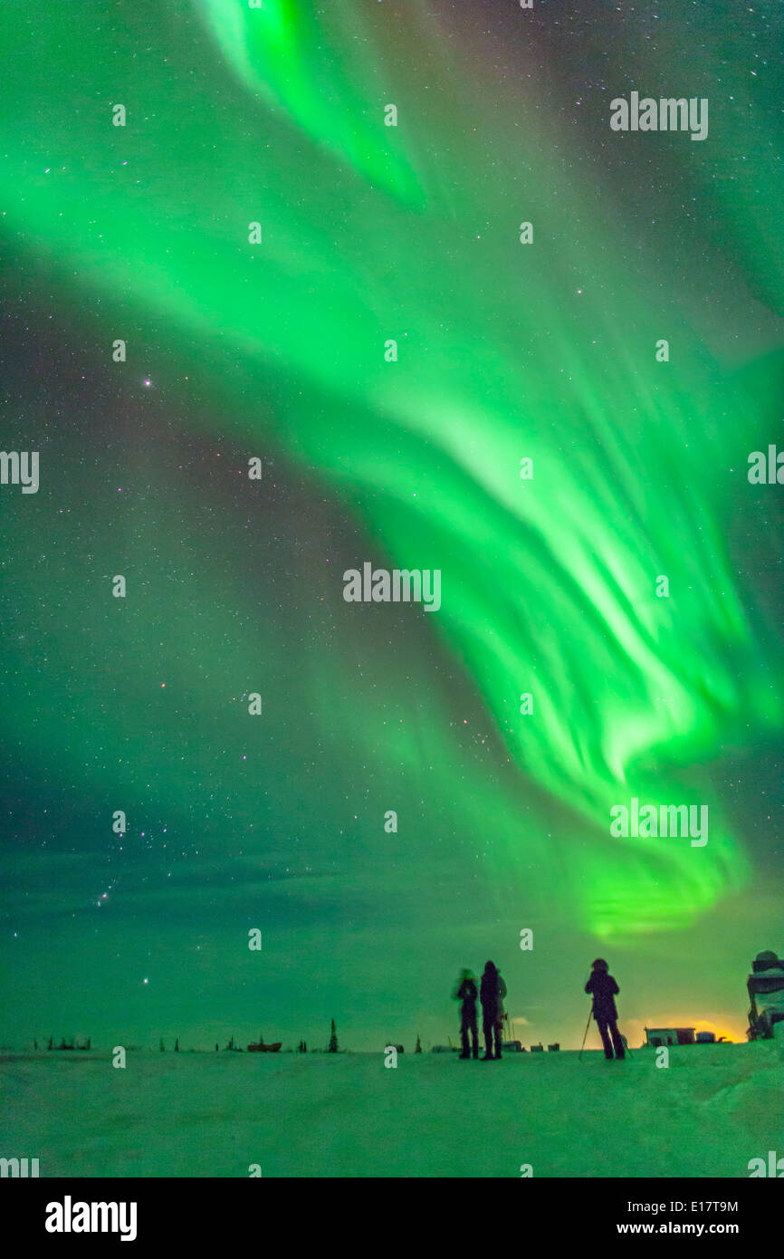 The aurora of February 3-4, 2014 seen from Churchill, Manitoba at the Churchill Northern Studies Centre, - Stock Image