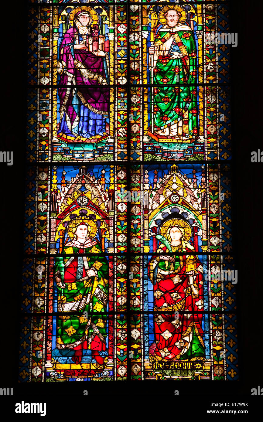 Stained glass windows in the Basilica di Santa Maria del Fiore or Florence cathedral. Stock Photo
