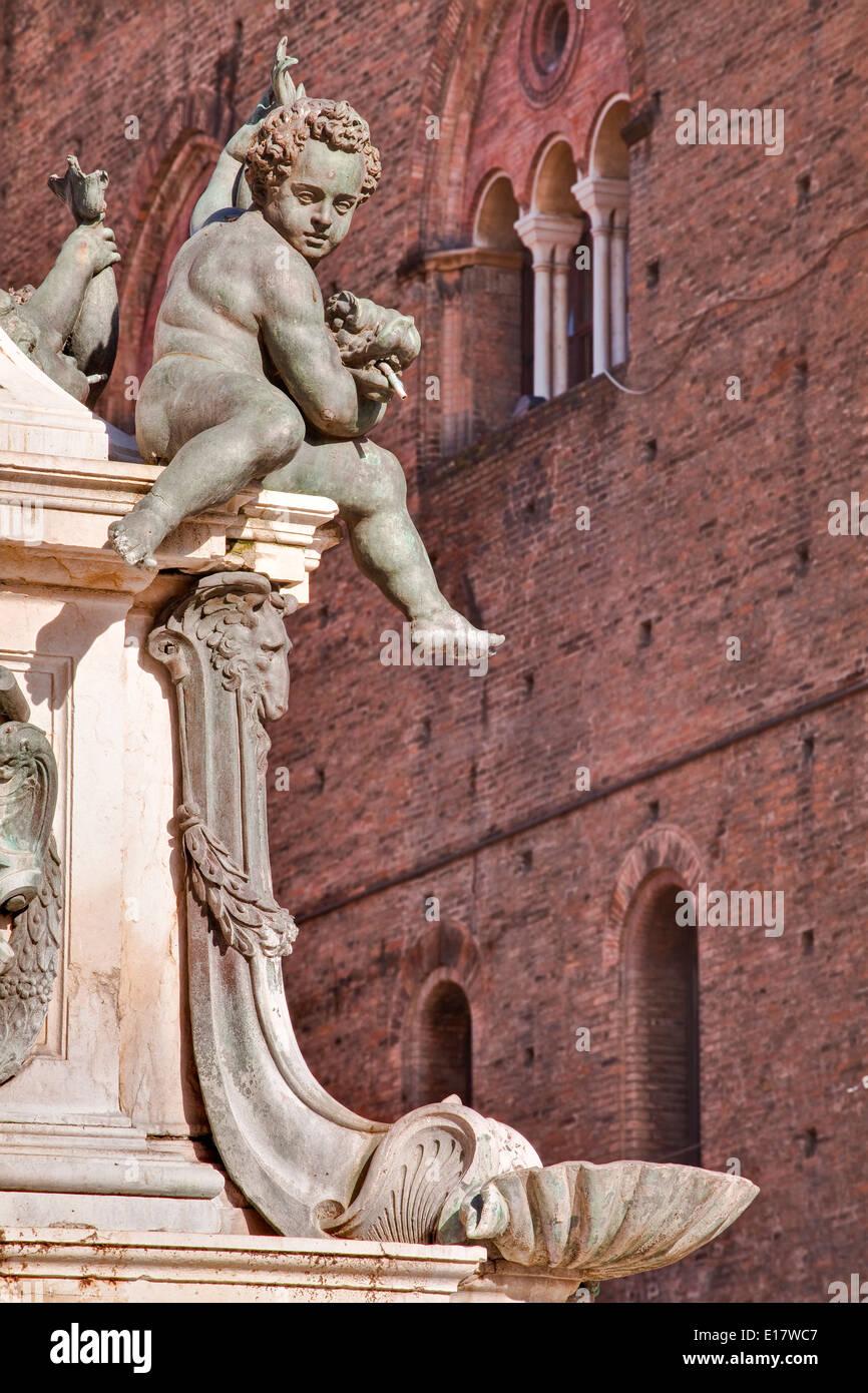 Detail of the Fontana di Nettuno or Fountain of Neptune in Piazza Nettuno, Bologna. It is by the sculptor Giambologna. - Stock Image