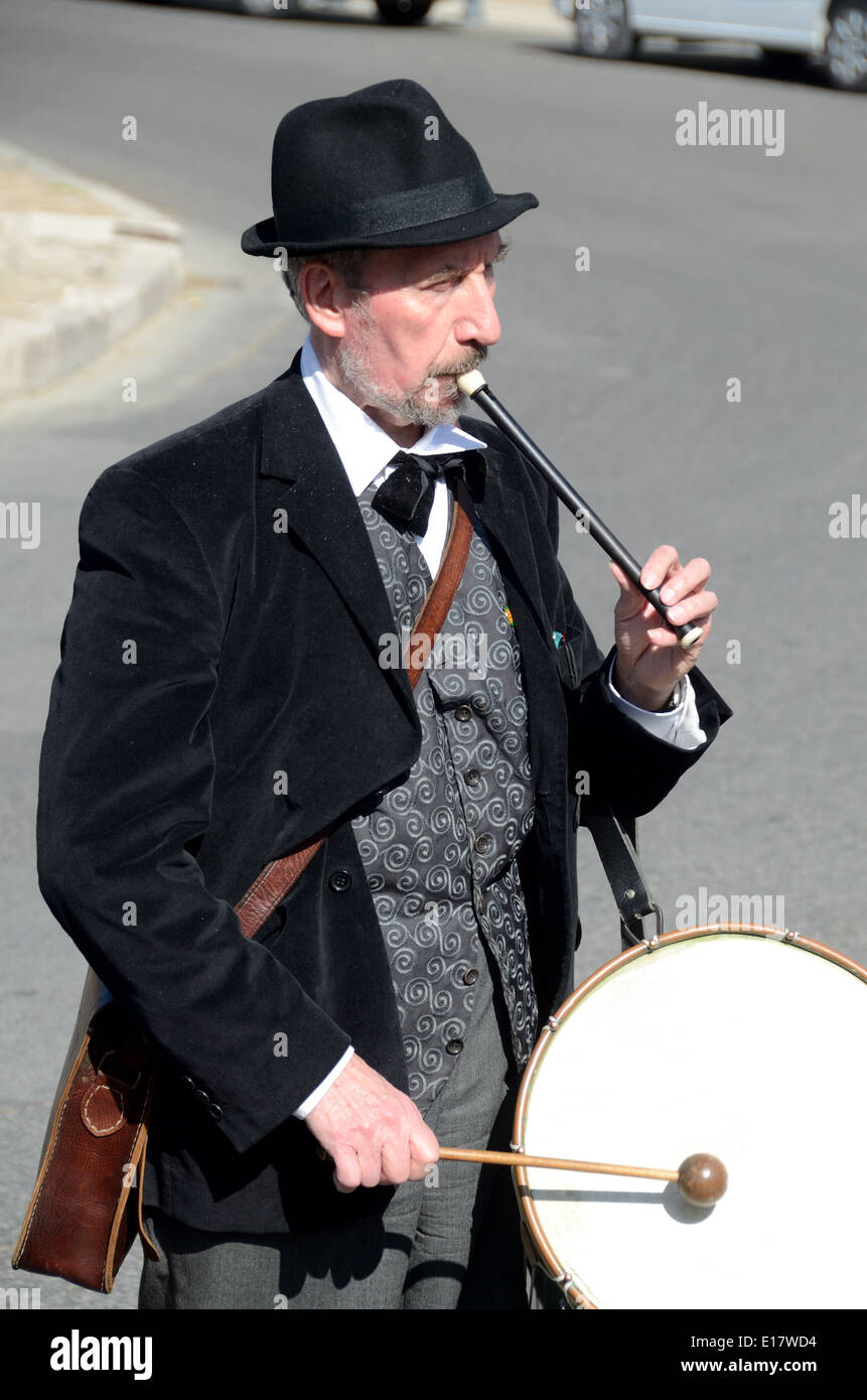 Provençal Musician Playing Traditional Tambourin or Provençal Drum & Flute Aix-en-Provence Provence France - Stock Image
