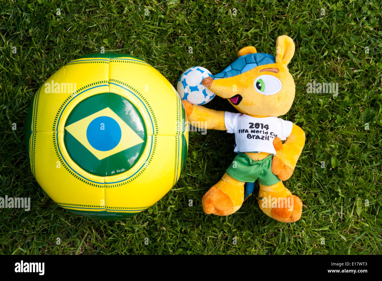 """""""Fuleco the Armadillo"""" Mascot and football for Brazil World Cup 2014. Stock Photo"""