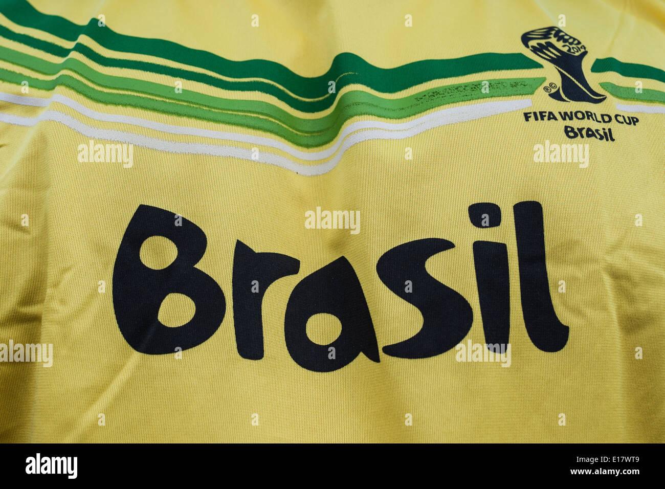 Brazil themed football shirt for Brazil World Cup 2014. Stock Photo