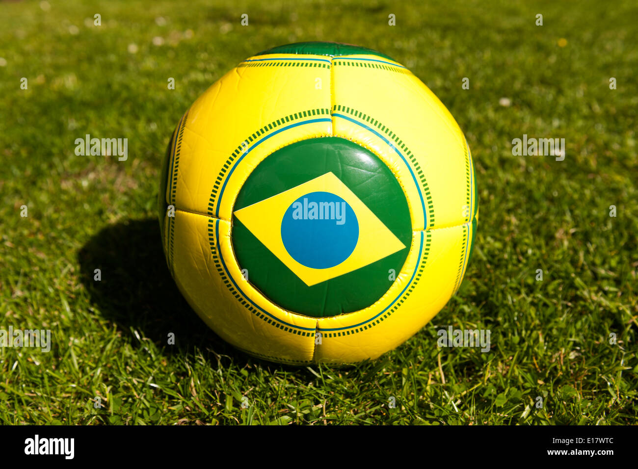 Brazilian football on grass for for Brazil World Cup 2014. Stock Photo