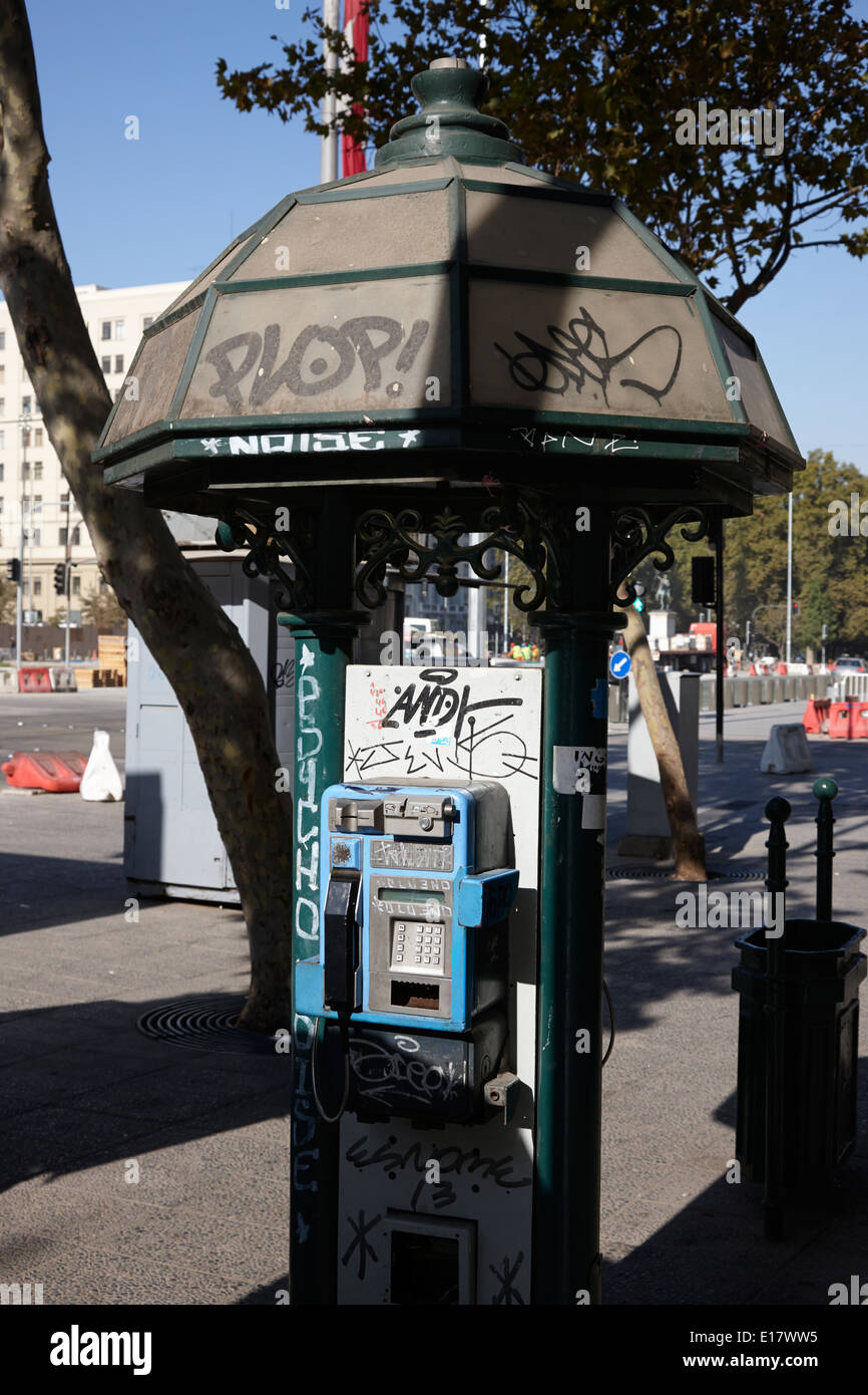old style telephone kiosk in downtown Santiago Chile - Stock Image
