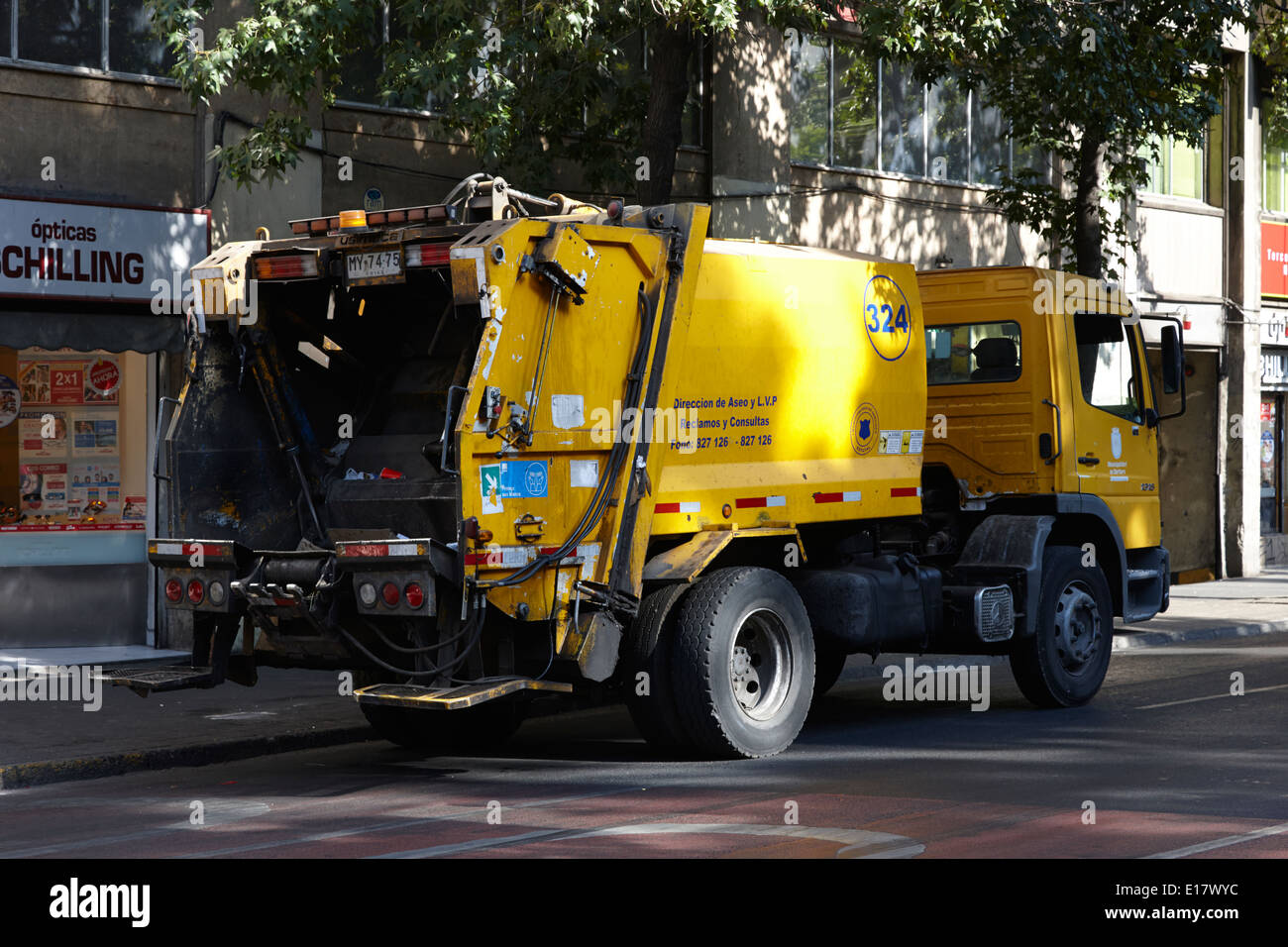 waste refuse lorry in downtown Santiago Chile - Stock Image