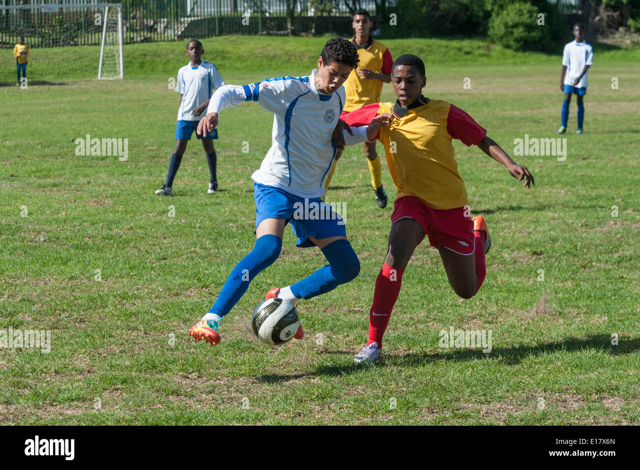 Junior football players tackling for the ball, Cape Town, South Africa - Stock Image