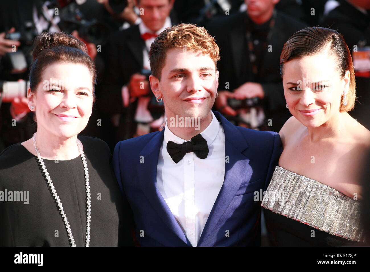 Antoine-Olivier Pilon, Anne Dorval. director Xavier Dolan at the Palme d'Or  Closing Awards Ceremony red carpet at the 67th Cannes Film Festival France. Saturday 24th May 2014 in Cannes Film Festival, France. - Stock Image