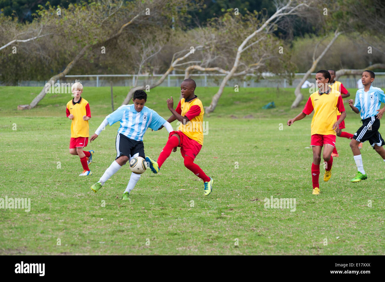 Junior football players tackling and kicking the ball, Cape Town, South Africa - Stock Image