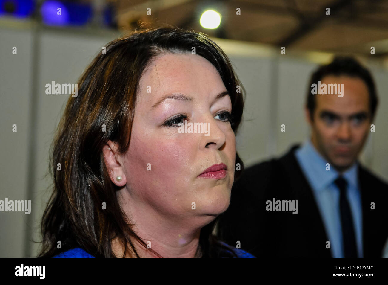 Belfast, Northern Ireland. 26 May 2014 - Tina McKenzie arrives at the European Election counting centre amid serious problems within her party, NI21, and after she resigns. Credit:  Stephen Barnes/Alamy Live News - Stock Image