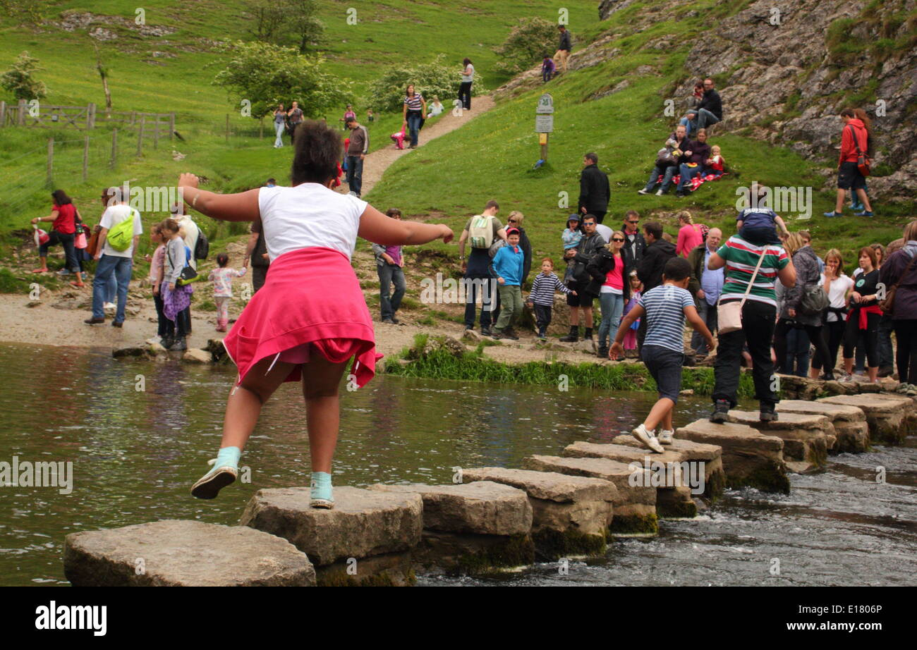 A family crosses the stepping stones of the River Dove at Dovedale in the Manifold Valley,Peak District, Derbyshire, Stock Photo