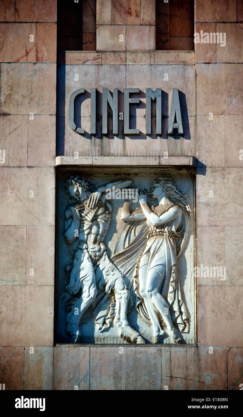 Stone frieze on facade of Art Deco Eden building formerly a theatre and cinema now a hotel Lisbon Portugal western Europe - Stock Image