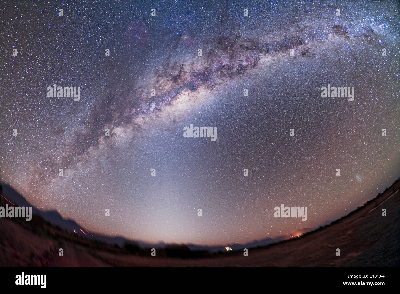 Southern Milky Way from Atacama Lodge, Chile (latitude 23° S) taken March 14/15, 2010 - Stock Image