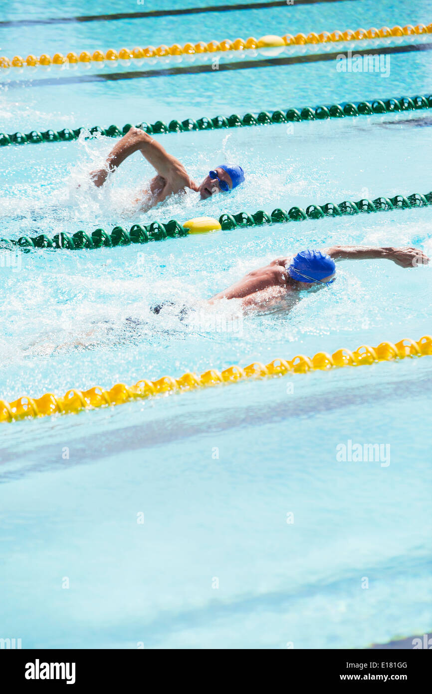 Swimmers racing in pool - Stock Image