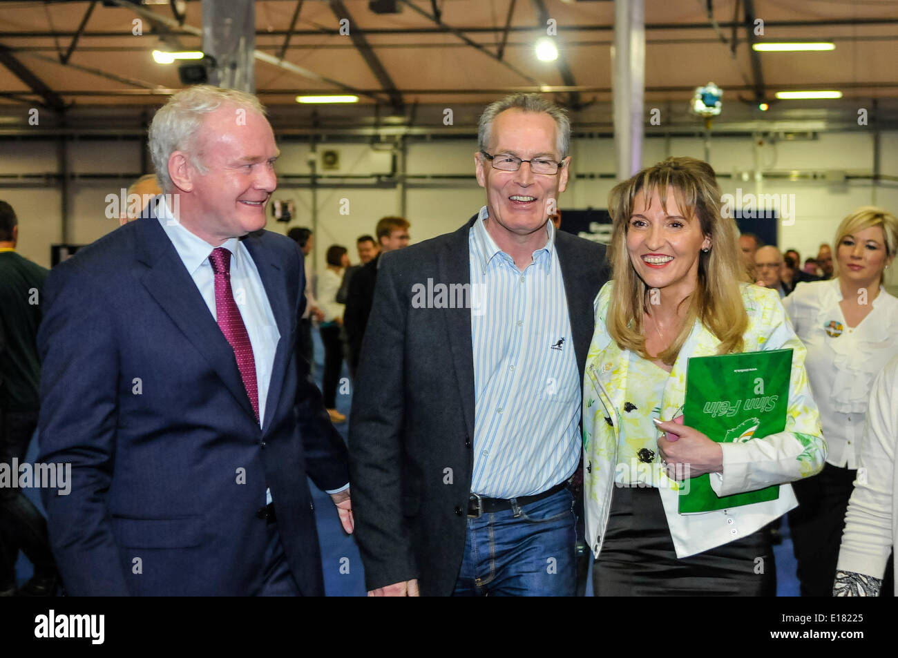 Belfast, Northern Ireland. 26 May 2014 - Sinn Fein candidate Martina Anderson arrives at EU counting station with Deputy First Minister Martin McGuinness, Belfast Credit:  Stephen Barnes/Alamy Live News - Stock Image