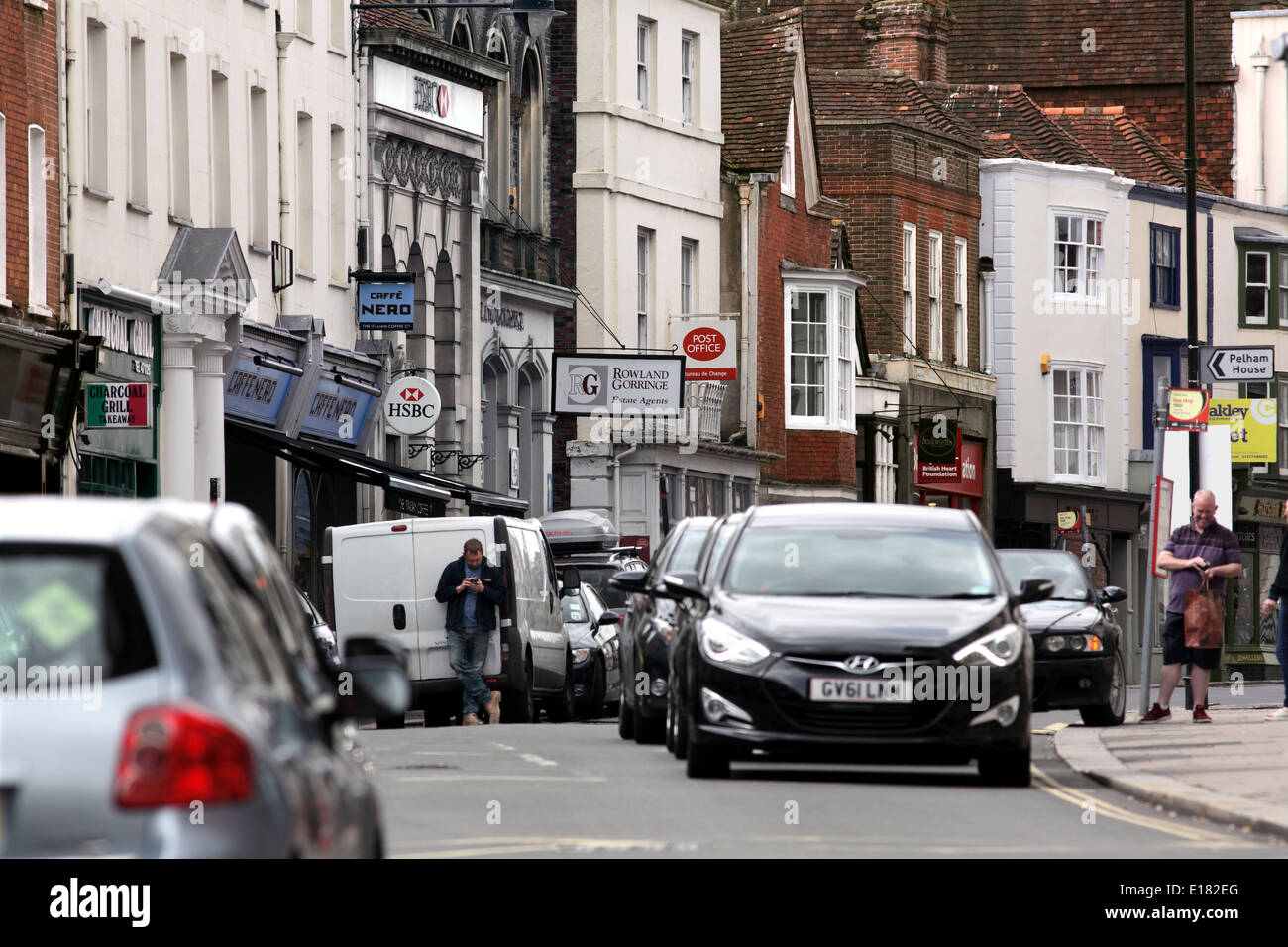 Traffic congestion in Lewes High Street. - Stock Image