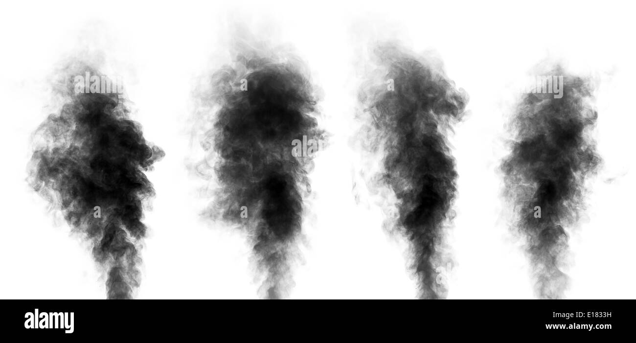 Set of black steam looking like smoke isolated on white background. Collection of clouds of black smoke. - Stock Image