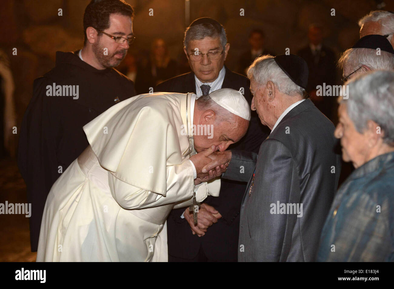 Jerusalem. 26th May, 2014. Pope Francis visits the Yad Vashem Holocaust Museum in Jerusalem, attended by IsraeliStock Photo