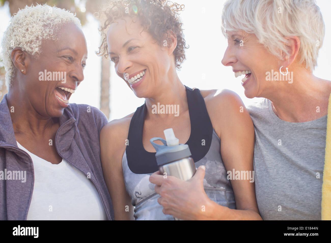 Senior women laughing in sportswear - Stock Image