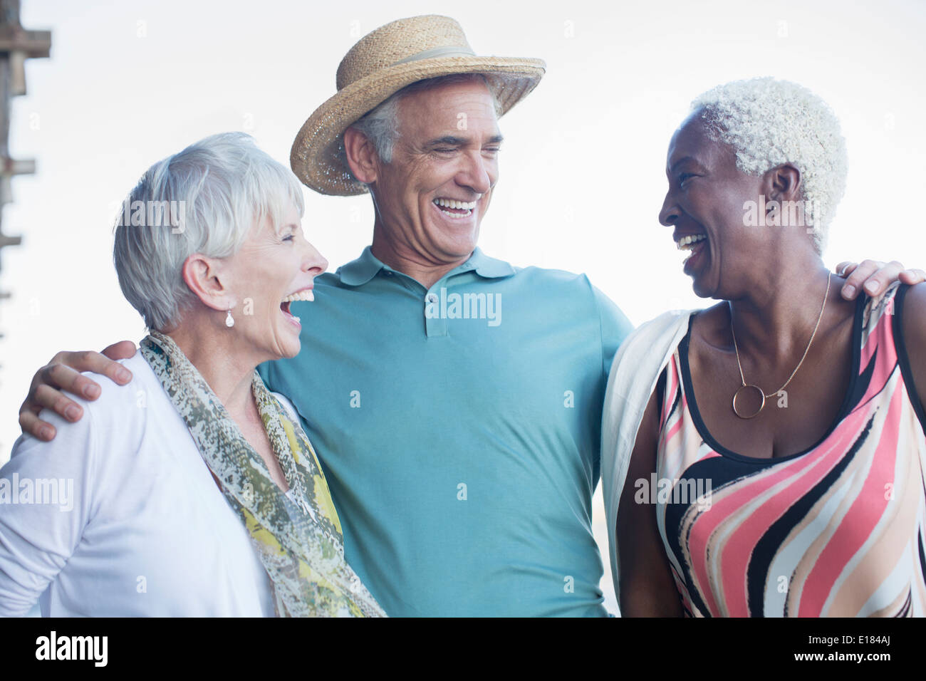 Senior friends laughing - Stock Image