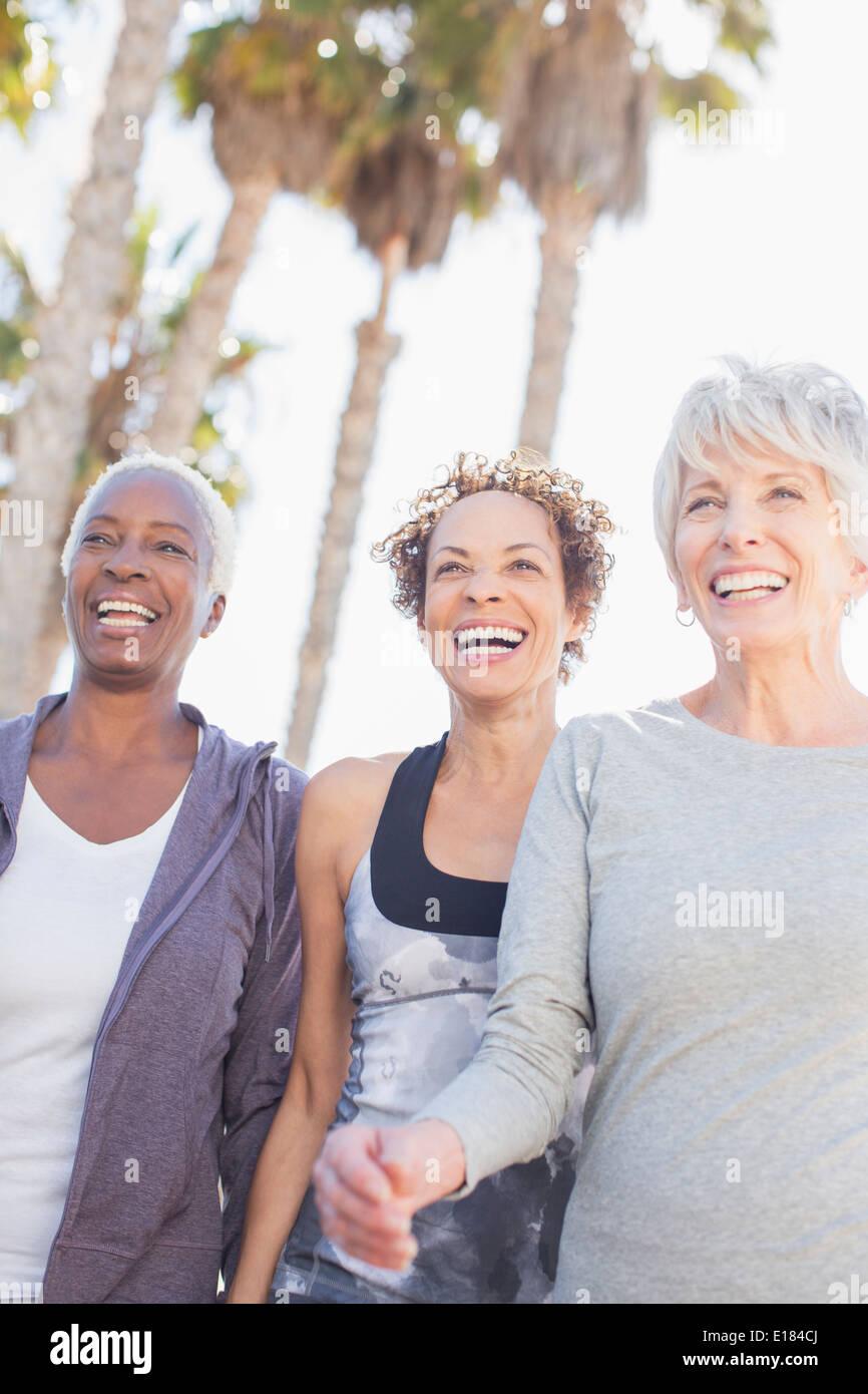 Senior women power walking outdoors - Stock Image