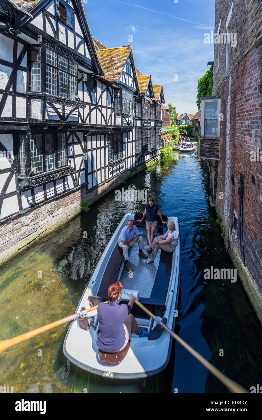 Boating River Trip on the River Stour Canterbury Kent - Stock Image