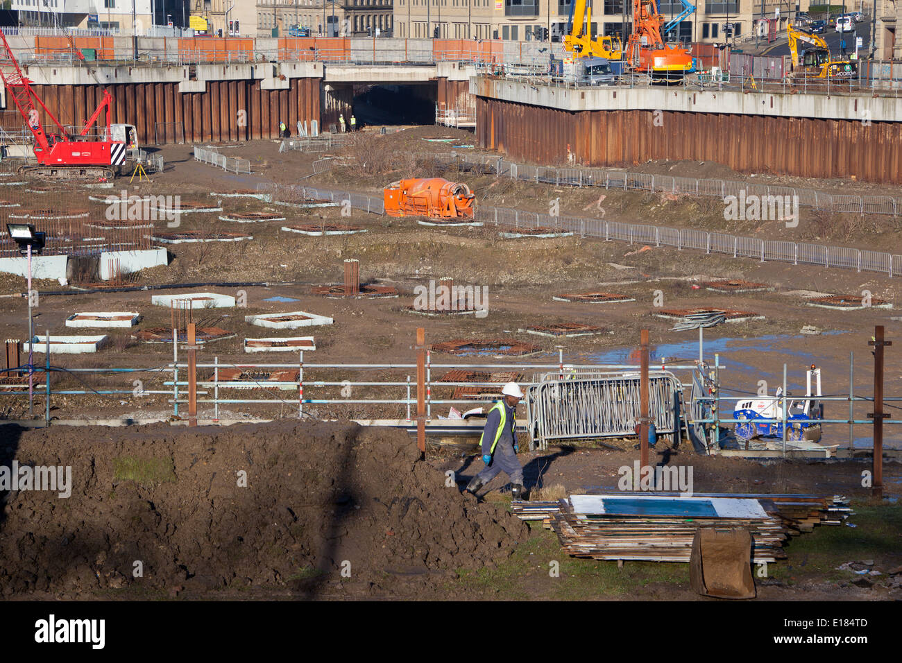 Construction underway on Bradford's Westfield development after almost 10 years of inactivity. - Stock Image