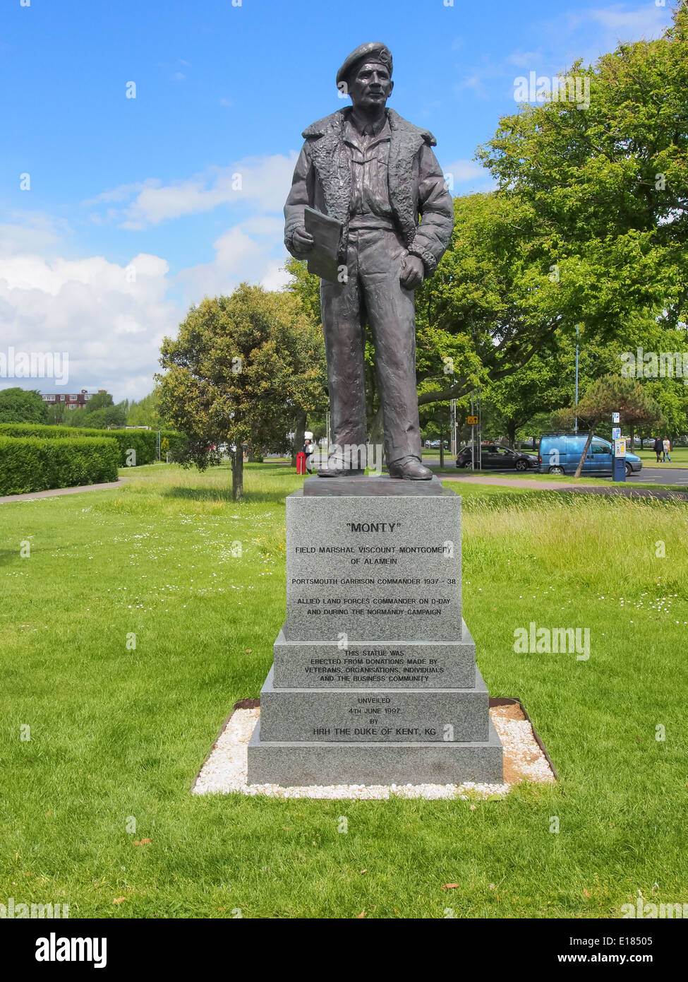 Statue of field marshal viscount Montgomery of Alamein in Southsea, Portsmouth, Hampshire, England - Stock Image