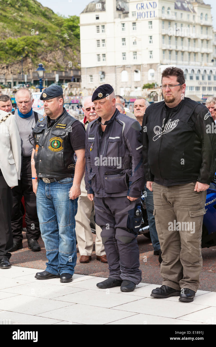 Llandudno, promenade, Conway, Wales,18th May, 2014; Bikers pay their respects, after three day tour to raise money for charity. - Stock Image