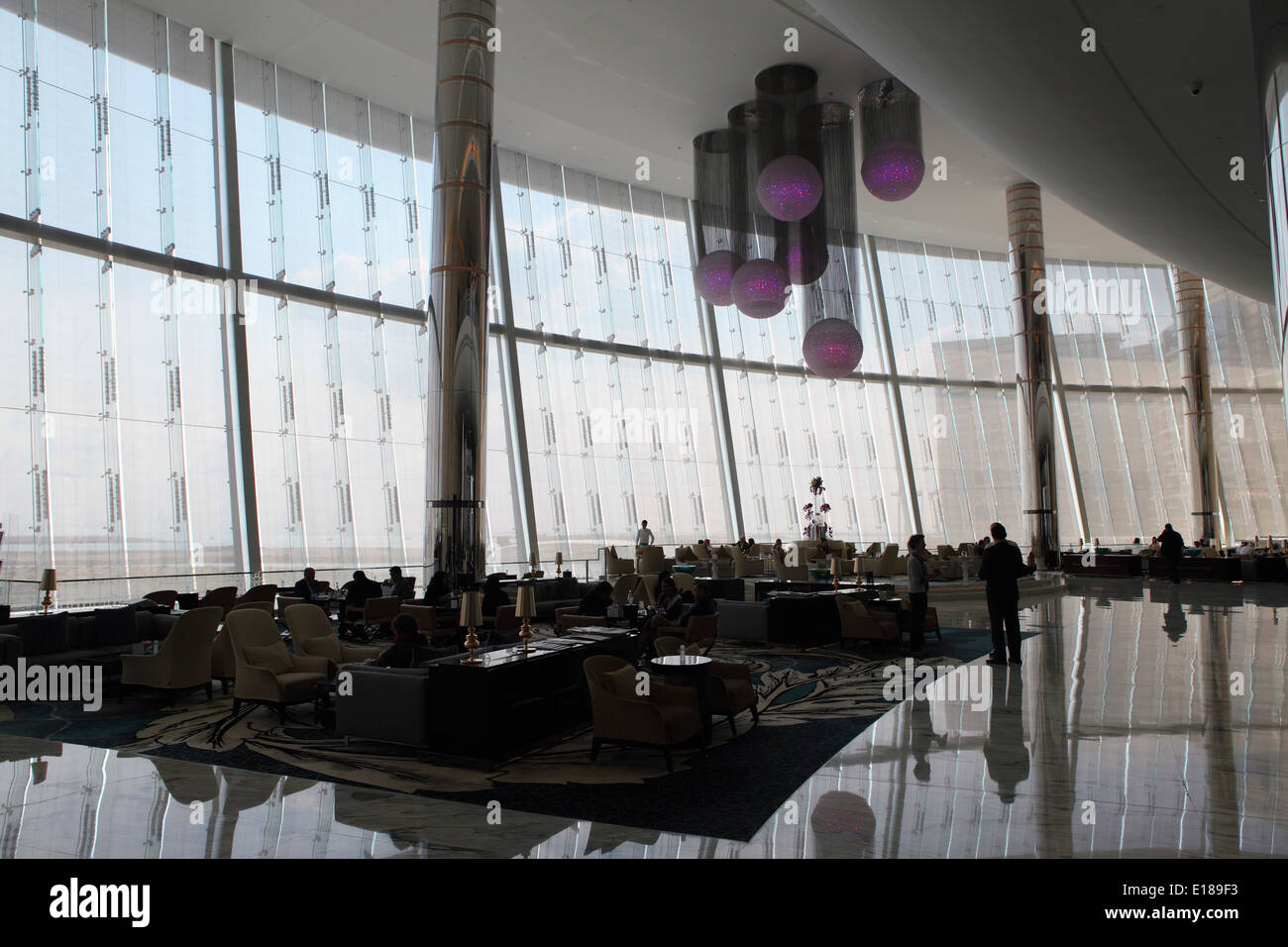 The foyer of the Jumeirah at Etihad Towers hotel in Abu Dhabi. - Stock Image