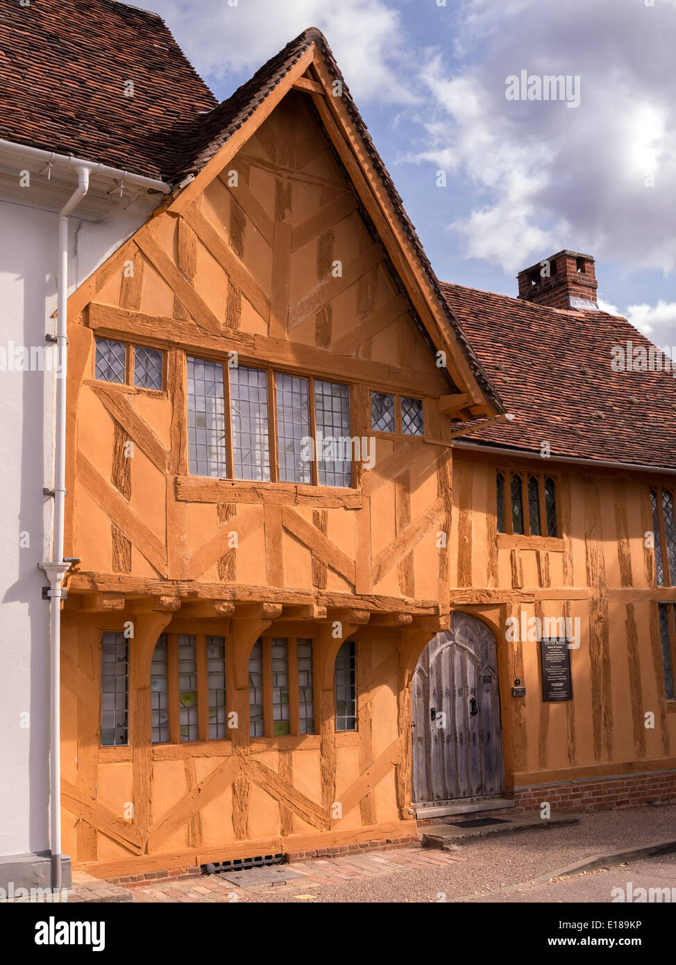 Old Medieval half timbered oak post and beam house of Little Hall, Lavenham, Suffolk, England, UK - Stock Image