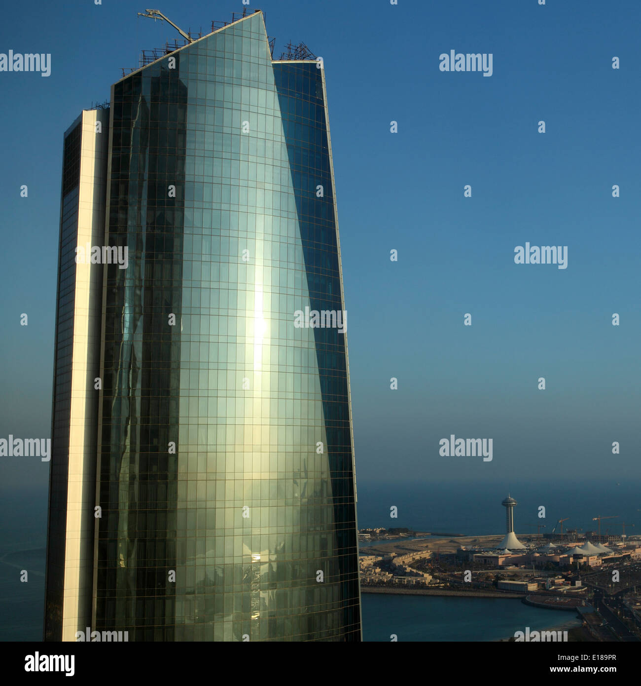 A close up of one of the Etihad Towers in Abu Dhabi. - Stock Image